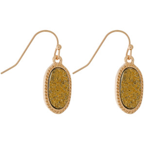 "Dainty, gold tone fishhook earrings with an oval shaped, faux druzy stone. Approximately 1"" in length."