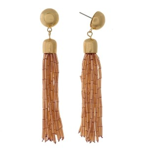 "Stud earrings with a shimmering, bead tassel. Approximately 3"" in length."