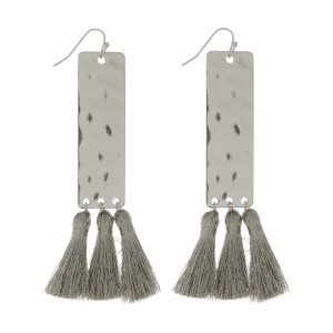 """Hammered metal, fishhook earrings with a rectangle shape and metallic thread tassels. Approximately 4"""" in length."""