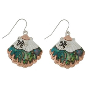 """Silver tone fishhook earrings with a two tone seashell and abalone accents. Approximately 1"""" in size."""