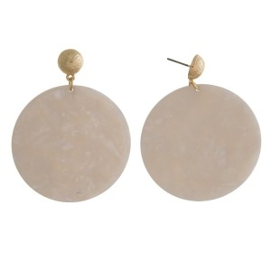 "Gold tone post earrings with an acetate circle. Approximately 2.25"" in length."
