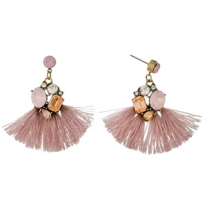 "Burnished gold tone statement earrings with monochromatic rhinestones and thread tassels. Approximately 1.75"" in length."
