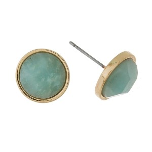 """Gold tone, circle stud earrings with a natural stone. Approximately 1/3"""" in diameter."""