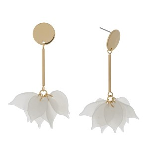 """Gold tone stud earrings with flowers on the bottom of the bar. Approximately 3"""" in length."""