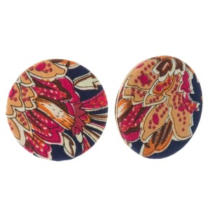 """Circle shaped, floral fabric stud earrings. Approximately 1.25"""" in diameter. Each earring is made with the same fabric but pattern or placement may vary."""