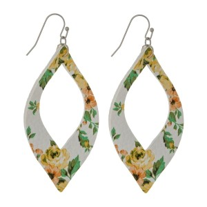 "Silver tone fishhook earrings with a faux leather, cutout shape with floral pattern. Approximately 2.25"" in length."