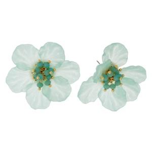 "Flower stud earrings with a beaded center. Approximately 1.5"" in diameter."