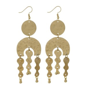 """Burnished, fishhook earrings with oval and wavy shapes and a hammered texture. Approximately 3.5"""" in length."""