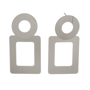 """Statement, post earrings with an open circle and rectangle shape. Approximately 3"""" in length."""