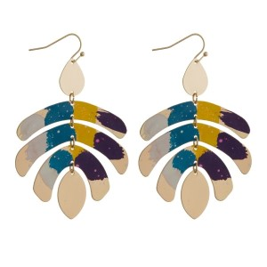 """Gold tone statement earrings with splatter painted geometric shapes. Approximately 2.5"""" in length."""