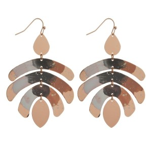 """Rose gold tone statement earrings with splatter painted geometric shapes. Approximately 2.5"""" in length."""