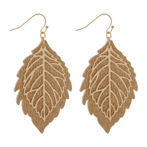 "Gold tone, fishhook earring with leather and metal leaf design. Approximately 2.25"" in length."