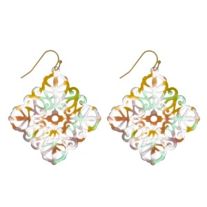 "Gold tone fishhook filigree acetate earring. Approximately 1.5"" in length."