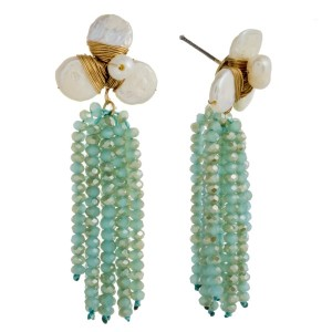 "Post earring with pearl cluster and faceted bead tassel. Approximately 2.5"" in length."