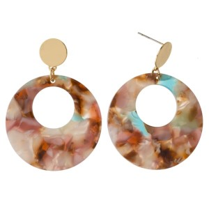 "Gold tone post earring with acetate circle. Approximately 1.5"" in length."