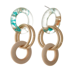 "Stud earring with acetate and metal interlocked rings. Approximately 2.5"" in length."