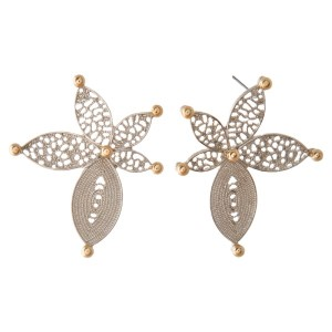 """Metal stud earring with ornate flower design. Approximately 1.5"""" in length."""