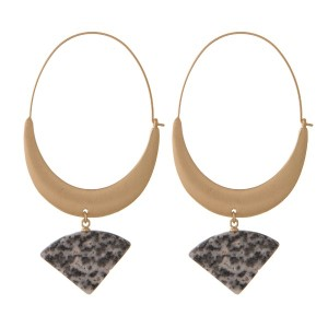 Gold tone statement earring with natural stone.
