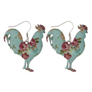 "Metal fishhook earring with floral rooster shape. Approximately 1.5"" in length."