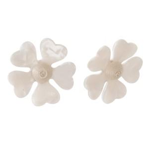 "Stud acetate flower earring. Approximately 1.5"" in length."