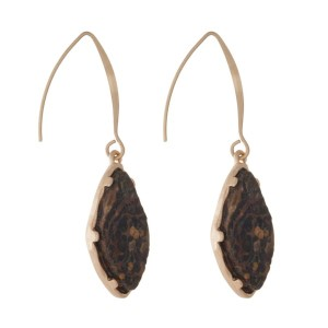 "Gold tone fishhook earring with natural stone oval shape. Approximately 1"" in length."