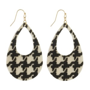 "Fishhook earrings with houndstooth print. Approximately 2.5"" in length."