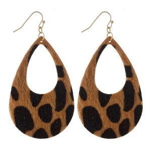 """Gold tone fishhook earring with leopard print teardrop design. Approximately 2"""" in length."""