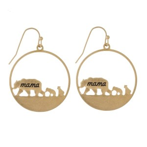 """Fishhook hoop earring with mama bear cut out. Approximately 1"""" in length."""