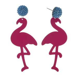 """Post earring with metal flamingo design. Approximately 3"""" in length."""