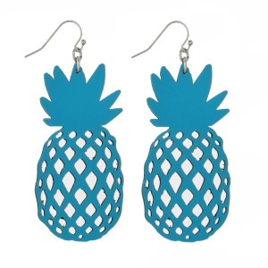 """Silver tone fishhook earring with faux leather pineapple shape. Approximately 2"""" in length."""
