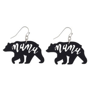 """Fishhook earring with mama bear design. Approximately 1.5"""" in length."""