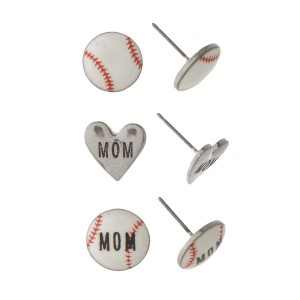 "Three-pair stud baseball earrings with ""Mom"" message. Approximate 1/4"" in length."