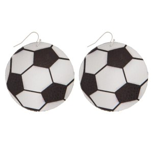 "Faux suede earring in soccer ball shape. Approximately 2"" in diameter"