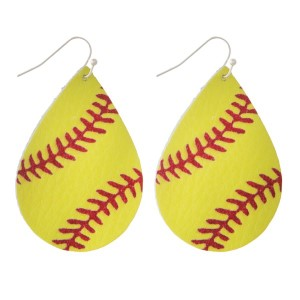 "Faux leather fishhook earring with a softball printed teardrop shape. Approximately 2"" in length."