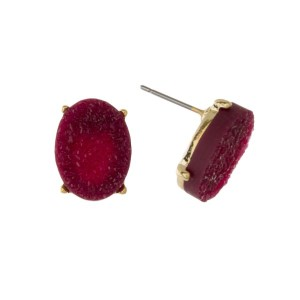 "Gold tone post earring with faux druzy oval shape. Approximately 1/2"" in length."