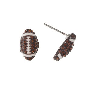 """Rhinestone sports ball earring. Approximately 1/2"""" in length."""