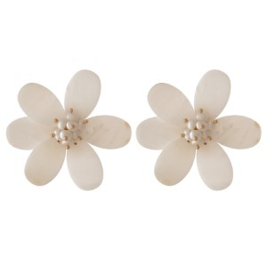 "Natural shell stud flower earrings. Approximately 1.75"" in length."