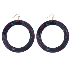 "Gold tone fishhook earring with acetate circle detail. Approximately 3.75"" in length."