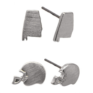 """Metal stud earring with Alabama and football helmet shape. Approximately 1/4"""" in length."""