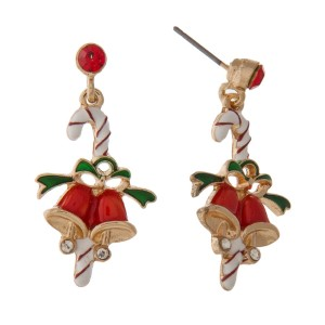 "Stud Christmas themed earring. Approximately 1"" in length."