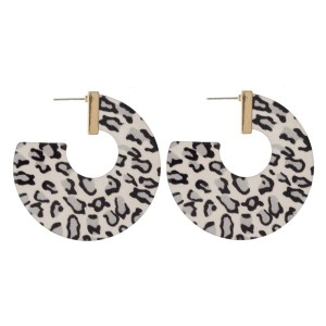 """Gold tone stud acetate hoops. Approximately 2"""" in length."""