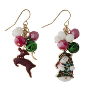"Fishhook earring with Christmas theme charms. Approximately 1"" in length."