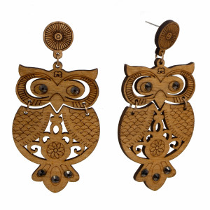 "Wooden stud earring with owl shape and rhinestone detail. Approximately 2.5"" in length."