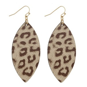 "Faux leather earring with leopard print. Approximately 2"" in length."