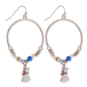 Christmas hoop earrings with polar bear pendants. Approximately 1.5 in diameter.