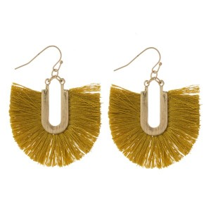 """Gold tone fishhook earring with navy fanned tassel. Approximately 1.5"""" in length."""