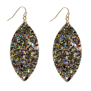"""Fishhook earring with glitter oval shape. Approximately 2"""" in length."""