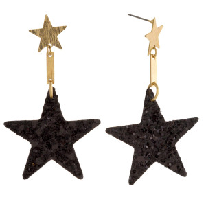 "Star stud earring with leather glitter star shape. Approximately 1.5"" in length."