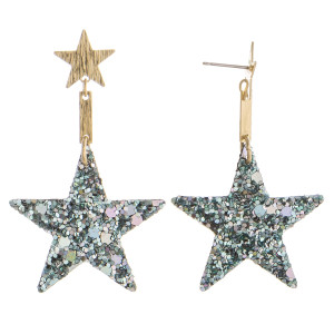 "Grab these gorgeous glitter star earrings. Perfect for  everyday wear. Approximate 2"" in length."