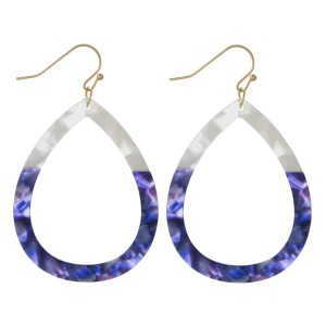 "Fishhook acetate teardrop earring. Approximately 1.75"" in length."